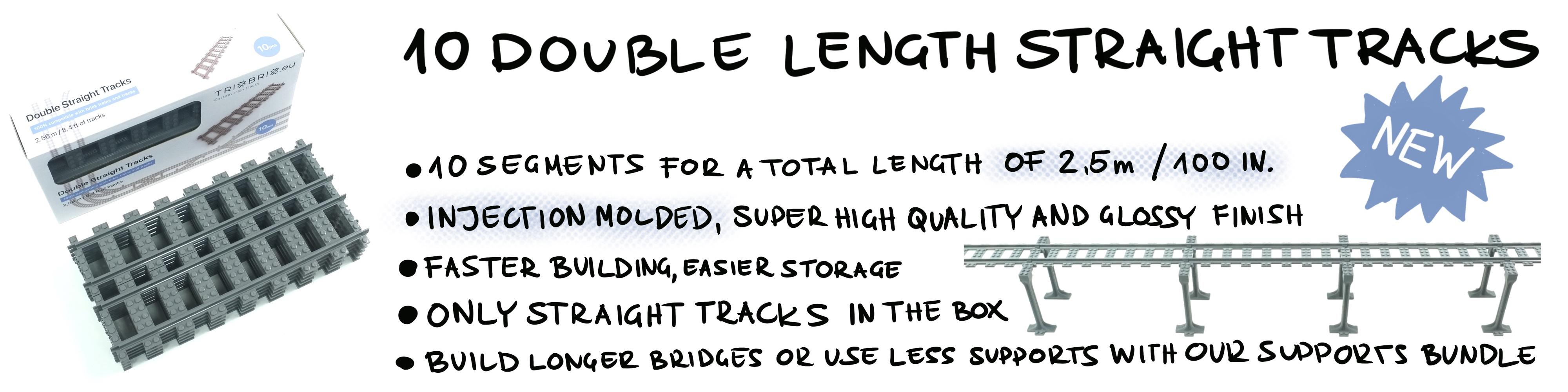 10 pieces Details about  /TrixBrix Double Straight Track Set compatible with Lego train